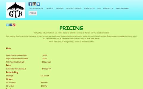 Screenshot of Pricing Page gilliganstikihuts.com - PRICING - captured May 18, 2017
