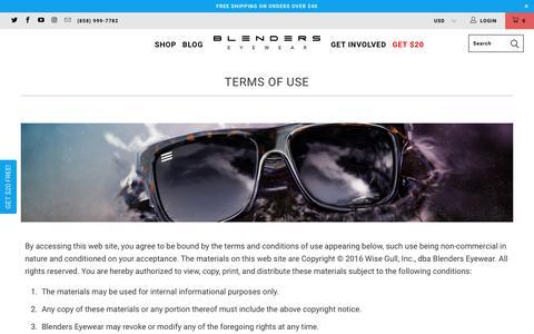Terms of Use - Blenders Eyewear