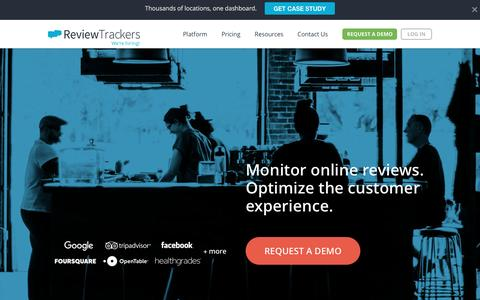 Screenshot of Home Page reviewtrackers.com - ReviewTrackers | Optimize the customer experience - captured Jan. 31, 2017
