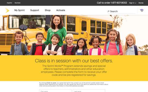 Screenshot of Landing Page sprint.com - Sprint Works Program - Education - captured Sept. 29, 2018