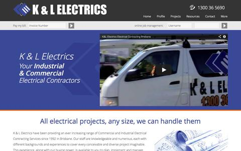 Screenshot of Home Page Menu Page klelectrics.com.au - K & L Electrics - Home - captured Oct. 1, 2014