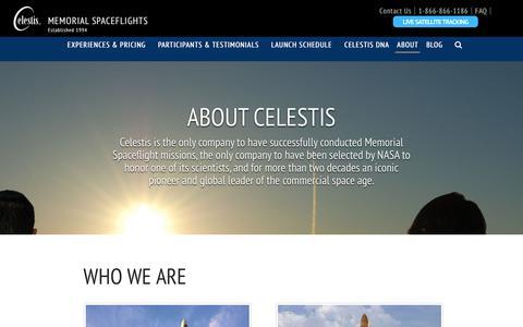 Screenshot of About Page celestis.com - About Celestis | Earth Orbit Service Missions since 1997 - captured Jan. 20, 2017