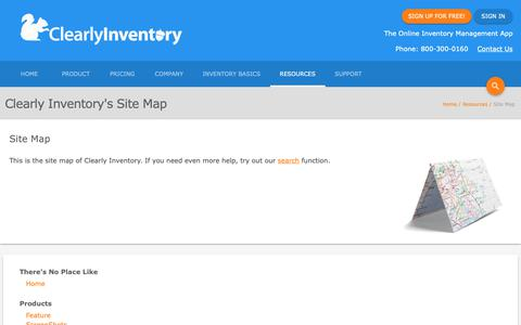 Screenshot of Site Map Page clearlyinventory.com - Site Map - Clearly Inventory - captured Nov. 4, 2018