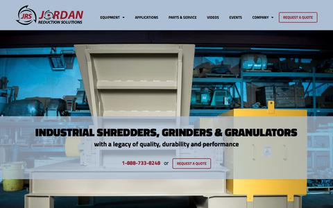 Screenshot of Home Page jordanreductionsolutions.com - Industrial Shredders, Granulators and Grinders for Commerical Use - captured Sept. 20, 2018