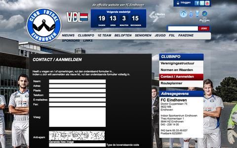 Screenshot of Contact Page clubfutsaleindhoven.nl - FCE | Contact - captured Sept. 30, 2014