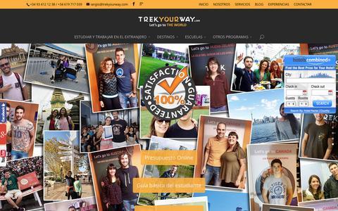Screenshot of Home Page trekyourway.com - Trekyourway | Estudiar y Trabajar en el Extranjero - captured March 2, 2016