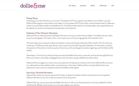 Screenshot of Privacy Page dollieme.com - Dollie & Me | Privacy Policy - captured Aug. 7, 2018