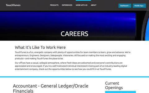 Screenshot of Jobs Page touchtunes.com - TouchTunes | Careers - captured Sept. 17, 2014