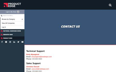 Screenshot of Contact Page nationalhardwareshow.com - Contact Us - Industry Edge Product Center - captured Oct. 22, 2018