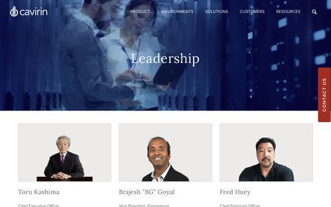 Screenshot of Team Page cavirin.com - Leadership - captured Aug. 22, 2019
