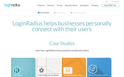 Screenshot of Case Studies Page loginradius.com - Social Login and Sharing - Case Study, White Paper and Industry Research - captured Oct. 28, 2014