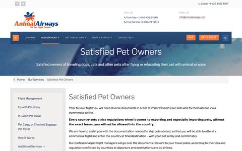 Screenshot of Testimonials Page animalairways.com - Animal Airways Pet travel - Satisfied pet owners - Traveling dogs & Cats - captured July 30, 2018