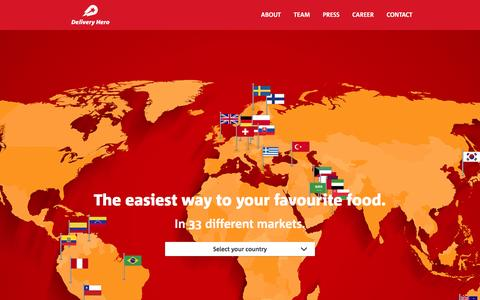 Screenshot of Home Page deliveryhero.com - Delivery Hero - The Easiest Way to Your Favourite Food - captured May 10, 2016