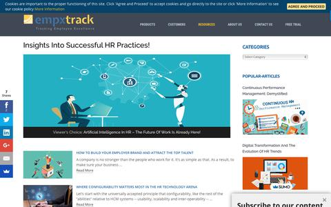 Screenshot of Blog empxtrack.com - Empxtrack Blog: Latest Ideas to Build a High Performing Workforce - captured Sept. 22, 2018