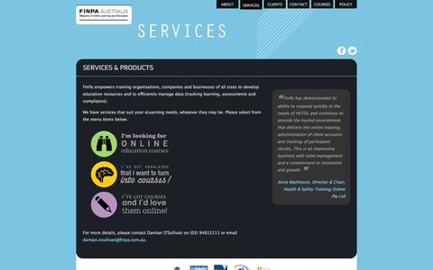 Screenshot of Services Page finpa.com.au - Services - FinPa - captured Oct. 5, 2014