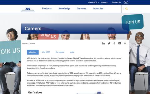 Screenshot of Jobs Page ats-global.com - Careers | ATS Global - captured Oct. 2, 2018