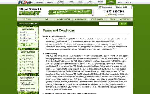 Screenshot of Terms Page stringtrimmersdirect.com - Terms of Use @ String Trimmers Direct.com - Your Online String Trimmer Superstore - captured Jan. 16, 2016