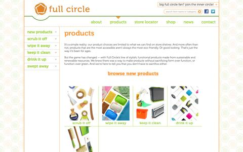 Screenshot of Products Page fullcirclehome.com - Full Circle | Products - captured Sept. 19, 2014