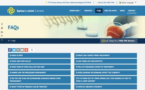 Screenshot of FAQ Page spineandjointcenter.com - Back and Joint Pain FAQs | Spine & Joint Center New York, New Jersey - captured Dec. 1, 2016