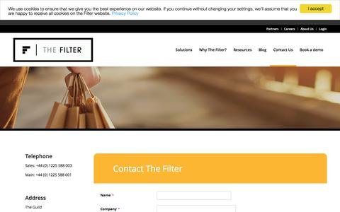 Screenshot of Contact Page thefilter.com - Contact The Filter - captured Aug. 3, 2017