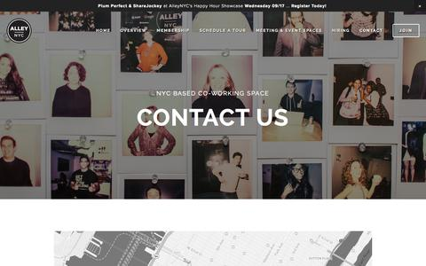 Screenshot of Contact Page alleynyc.com - Contact — AlleyNYC - The Most Badass Coworking Space on the Planet - captured Sept. 22, 2014