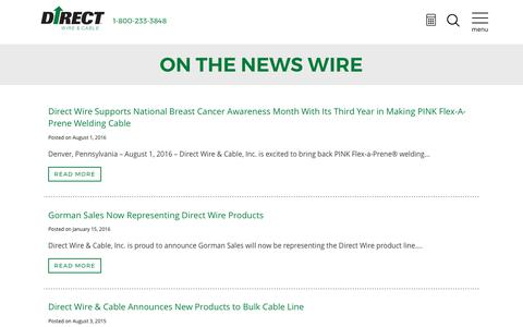 Screenshot of Press Page directwireusa.com - News - Direct Wire & Cable - captured Oct. 12, 2017