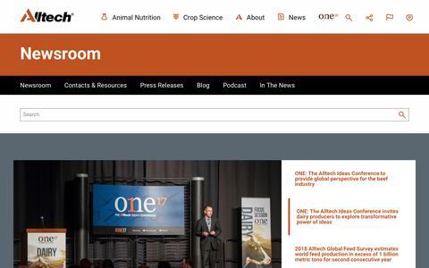 Screenshot of Press Page alltech.com - Newsroom | Alltech - captured Feb. 20, 2018