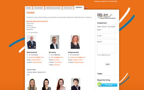 Screenshot of Contact Page bb-int.nl - Business Boost International - Contact - captured Oct. 4, 2014