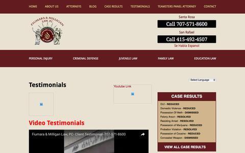 Screenshot of Testimonials Page fiumara.com - Testimonials - Santa Rosa Injury & Criminal Defense Lawyer - captured Oct. 30, 2016