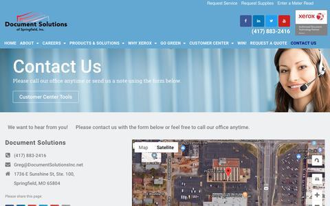 Screenshot of Contact Page documentsolutionsinc.net - - Contact - Document Solutions of Springfield, Inc. - captured Dec. 19, 2018