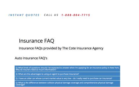 Screenshot of FAQ Page savewithcote.com - FAQ's - captured Nov. 13, 2016