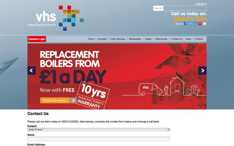 Screenshot of Contact Page vhsgroup.co.uk - Contacting Valley Heating Services - captured Oct. 27, 2014