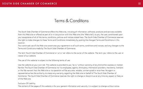 Screenshot of Terms Page southsidechamber.org - Terms & Conditions — South Side Chamber of Commerce - captured Feb. 24, 2018
