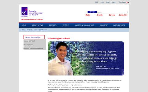 Screenshot of Jobs Page a-star.edu.sg - Agency for Science Technology and Research (A*STAR) > Careers > Career Opportunities - captured Sept. 19, 2014