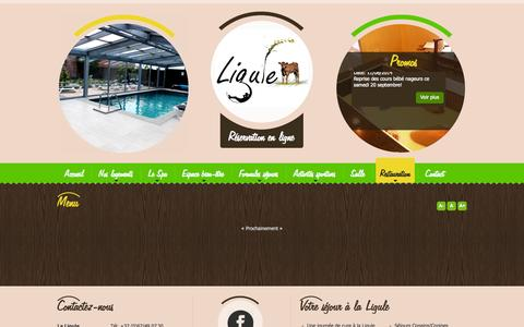 Screenshot of Menu Page gites-ligule.be - Menu - VANDENBERGHE JOSE - MIGNAULT - captured Oct. 1, 2014