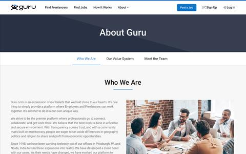 Screenshot of About Page guru.com - About Us - Hire Professional Freelancers and Find Freelance Work - captured Dec. 8, 2019