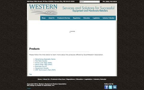 Screenshot of Products Page swassn.com -     Western Equipment Dealers Association     - captured Oct. 6, 2014