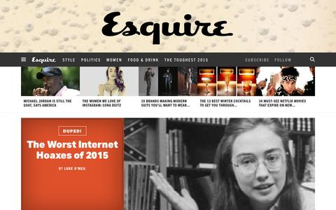 Screenshot of Home Page esquire.com - Esquire - Men's Fashion, Cocktails, Politics, Interviews, and Women - captured Jan. 1, 2016