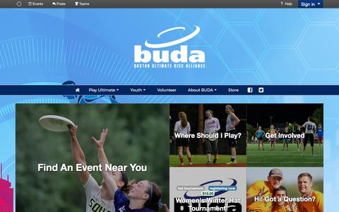 Screenshot of Home Page buda.org - Home - Boston Ultimate Disc Alliance - captured Oct. 10, 2017