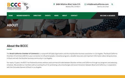 Screenshot of About Page brazilcalifornia.com - About   Brazil California Chamber of Commerce - captured Oct. 6, 2018