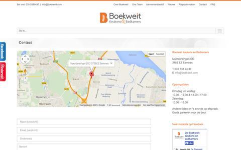 Screenshot of Contact Page boekweit.com - Boekweit keukens en badkamers | Contact - captured Oct. 5, 2014