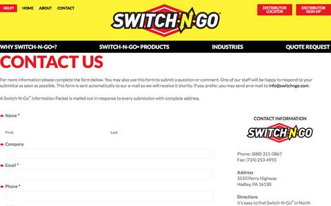 Screenshot of Contact Page switchngo.com - Contact - Switch-N-Go® - captured Nov. 3, 2017