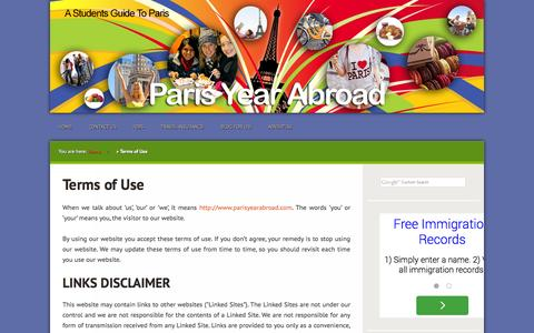 Screenshot of Terms Page parisyearabroad.com - Terms of Use | - captured Oct. 1, 2014