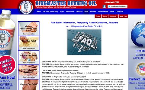 Screenshot of FAQ Page ringmasternow.com - Pain Relief Information, FAQs, Arthritis Pain Relief, Joint Pain, Back Pain, Gout Treatment, Muscle Spasms, Foot Pain | Ringmaster - captured Oct. 1, 2014