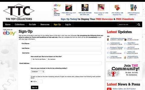 Screenshot of Signup Page tintoycollectors.com - Tin Toy Collectors » Collector Sign Up - captured Jan. 25, 2017