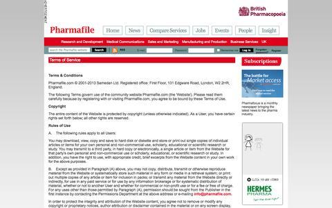 Screenshot of Terms Page pharmafile.com - Terms of Service | Pharmafile - captured Nov. 2, 2014