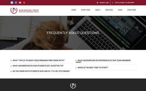 Screenshot of FAQ Page premiereprep.net - FAQ | Premiere Prep - captured July 21, 2018
