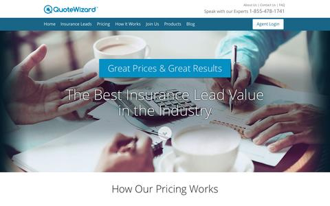 Screenshot of Pricing Page quotewizard.com - Pricing Details | QuoteWizard Insurance Leads - captured Oct. 2, 2015