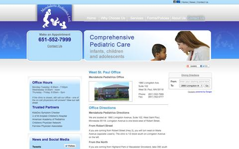 Screenshot of Contact Page Locations Page mendakotapeds.com - West & South St. Paul Pediatrics | Mendota Heights, Eagan, Inver Grove Heights, Woodbury | Pediatrician - captured Oct. 27, 2014