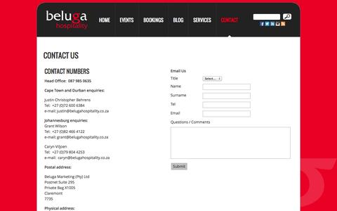 Screenshot of Contact Page belugahospitality.co.za - Contact Beluga Hospitality - captured Sept. 30, 2014